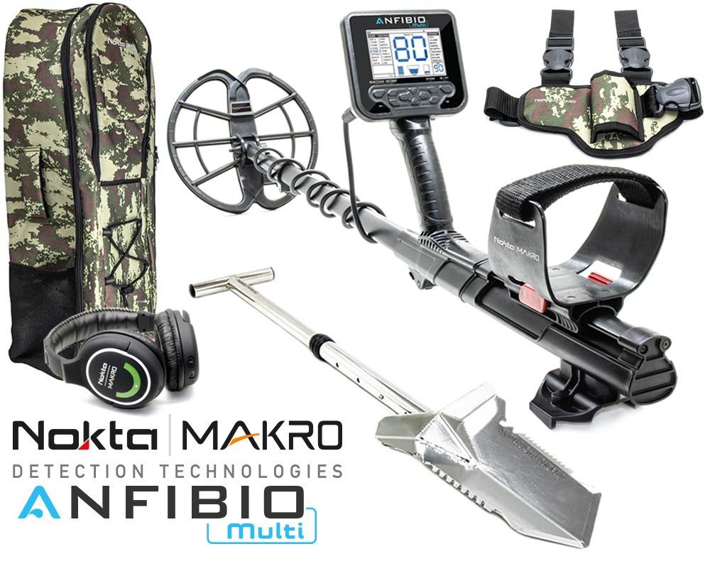 Nokta |  Détecteur de métaux multi Makro Anfibio + sac à dos + bêche Premium + étui de jambe