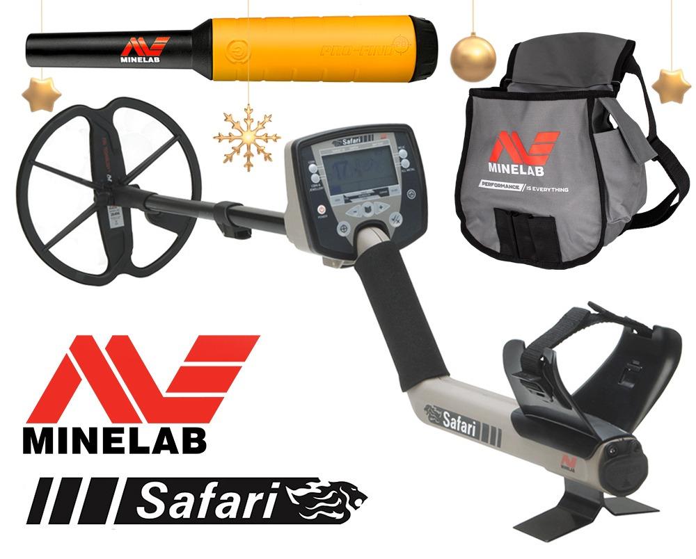 Détecteur de métaux multifréquence Minelab Safari avec pointeur à broche Pro-Find gratuit et sac de recherche Minelab